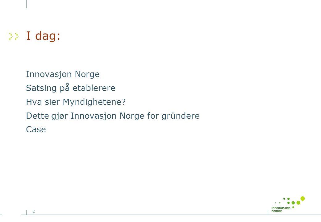 2 I dag: Innovasjon Norge Satsing på etablerere Hva sier Myndighetene? Dette gjør Innovasjon Norge for gründere Case