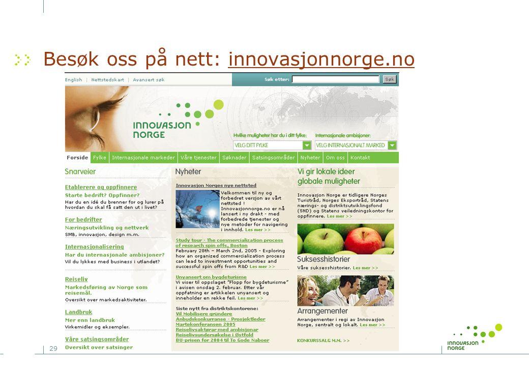 29 Besøk oss på nett: innovasjonnorge.no