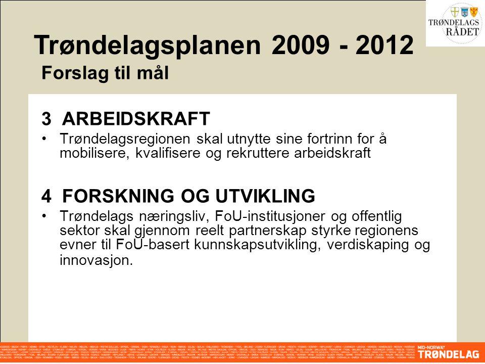 3 ARBEIDSKRAFT Trøndelagsregionen skal utnytte sine fortrinn for å mobilisere, kvalifisere og rekruttere arbeidskraft 4 FORSKNING OG UTVIKLING Trøndel