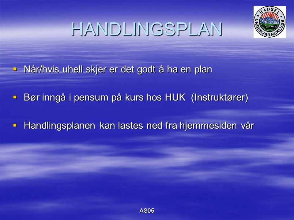 AS05 HANDLINGSPLAN  Når/hvis uhell skjer er det godt å ha en plan  Bør inngå i pensum på kurs hos HUK (Instruktører)  Handlingsplanen kan lastes ned fra hjemmesiden vår