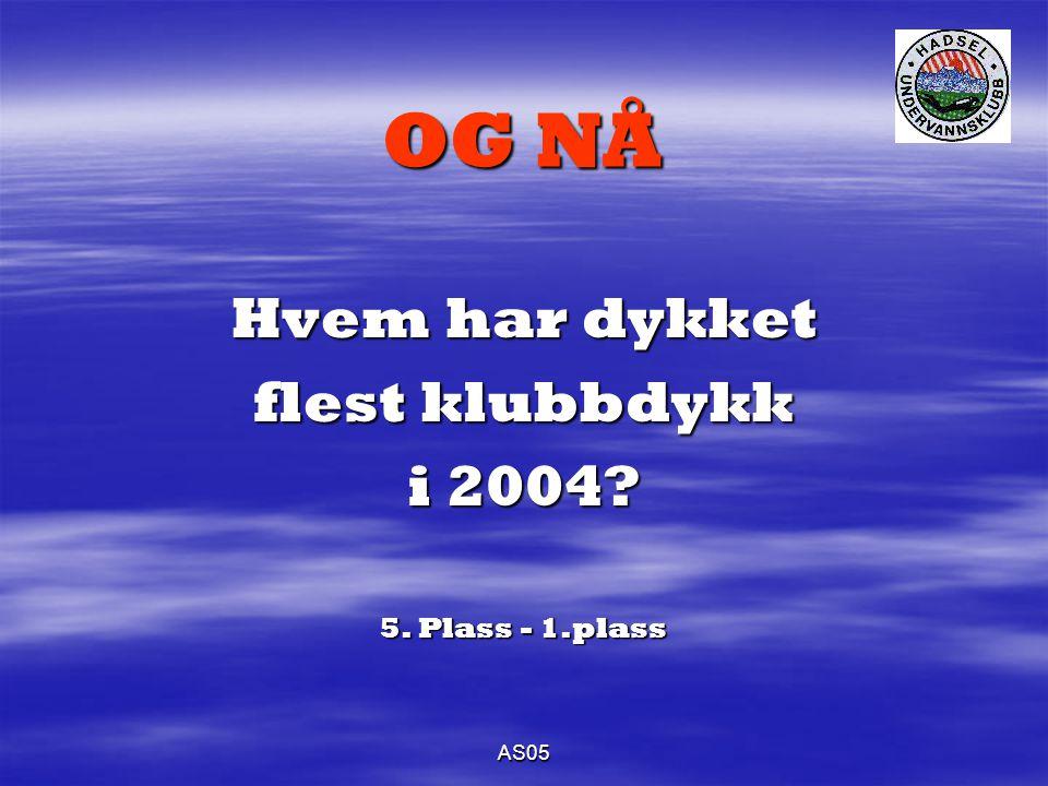 AS05 OG NÅ Hvem har dykket flest klubbdykk i 2004 5. Plass - 1.plass