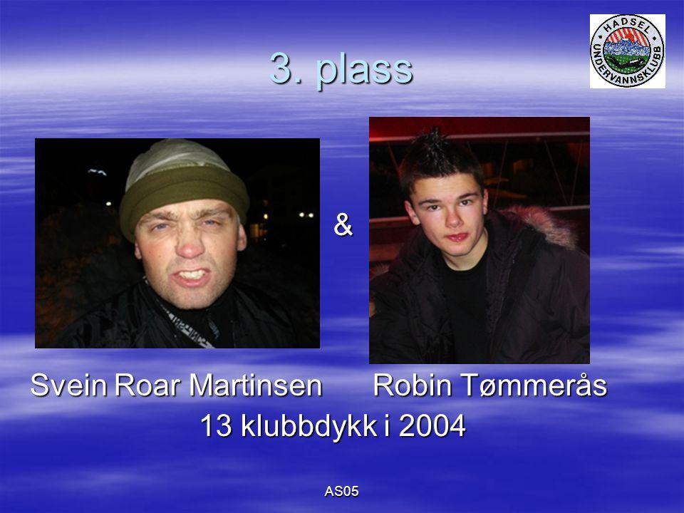 AS05 3. plass & Svein Roar Martinsen Robin Tømmerås 13 klubbdykk i 2004 13 klubbdykk i 2004