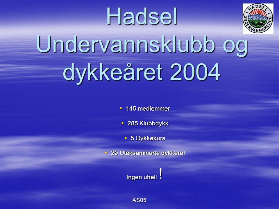 AS05 Hadsel Undervannsklubb og dykkeåret 2004  145 medlemmer  285 Klubbdykk  5 Dykkekurs  29 Uteksaminerte dykkere.