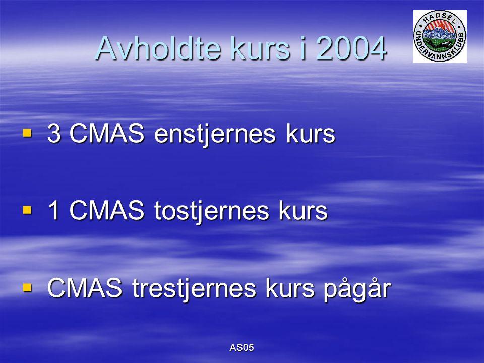 AS05 Avholdte kurs i 2004  3 CMAS enstjernes kurs  1 CMAS tostjernes kurs  CMAS trestjernes kurs pågår