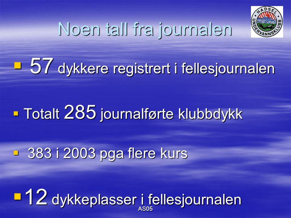 AS05 Noen tall fra journalen  57 dykkere registrert i fellesjournalen  Totalt 285 journalførte klubbdykk  383 i 2003 pga flere kurs  12 dykkeplasser i fellesjournalen