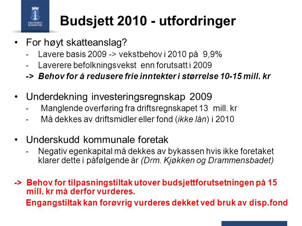 Budsjett 2010 - utfordringer For høyt skatteanslag.