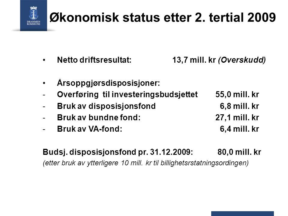 Økonomisk status etter 2. tertial 2009 Netto driftsresultat: 13,7 mill.
