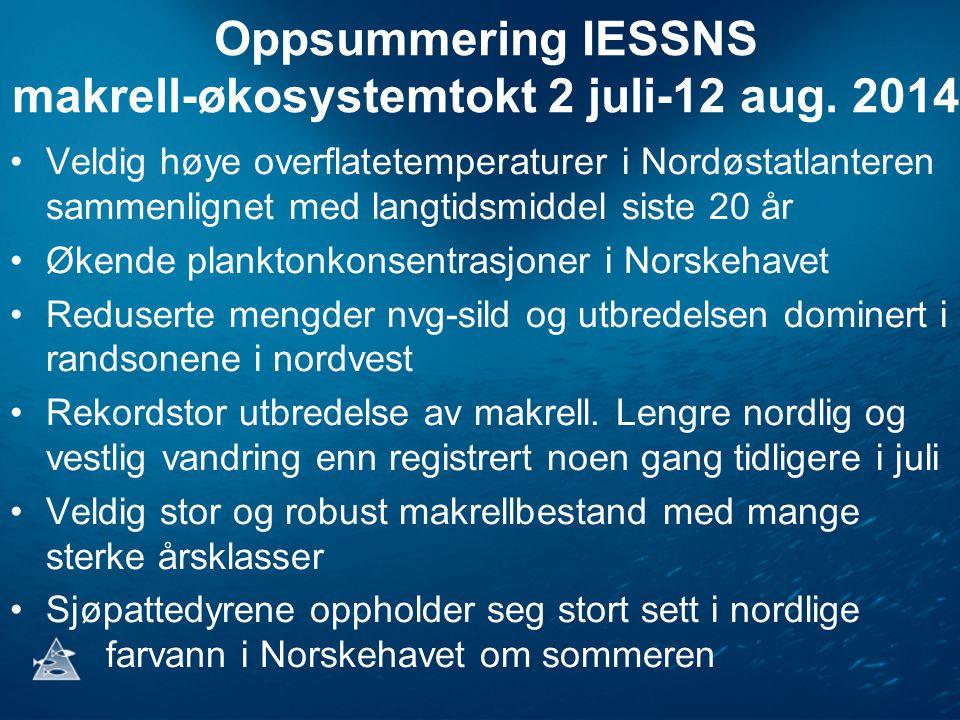 Oppsummering IESSNS makrell-økosystemtokt 2 juli-12 aug. 2014 Veldig høye overflatetemperaturer i Nordøstatlanteren sammenlignet med langtidsmiddel si