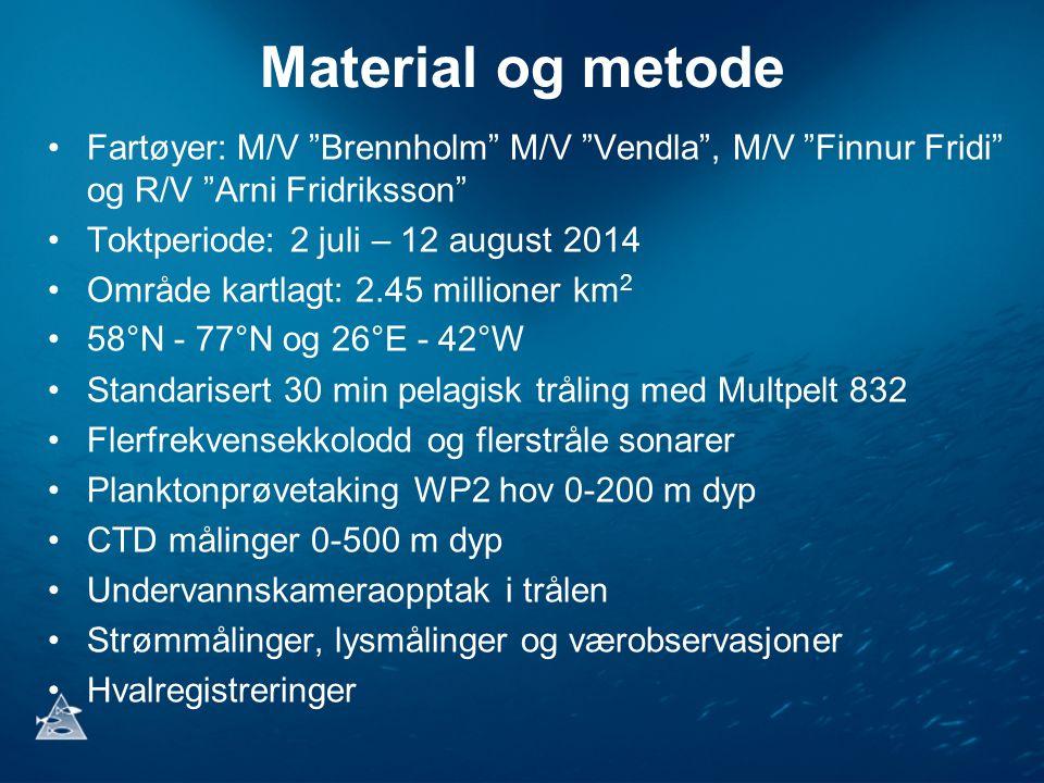 "Material og metode Fartøyer: M/V ""Brennholm"" M/V ""Vendla"", M/V ""Finnur Fridi"" og R/V ""Arni Fridriksson"" Toktperiode: 2 juli – 12 august 2014 Område ka"