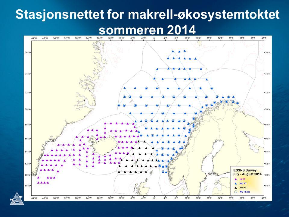 Stasjonsnettet for makrell-økosystemtoktet sommeren 2014