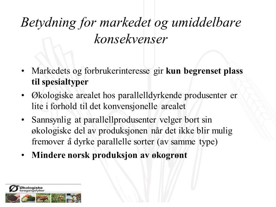 Betydning for markedet og umiddelbare konsekvenser Markedets og forbrukerinteresse gir kun begrenset plass til spesialtyper Økologiske arealet hos par