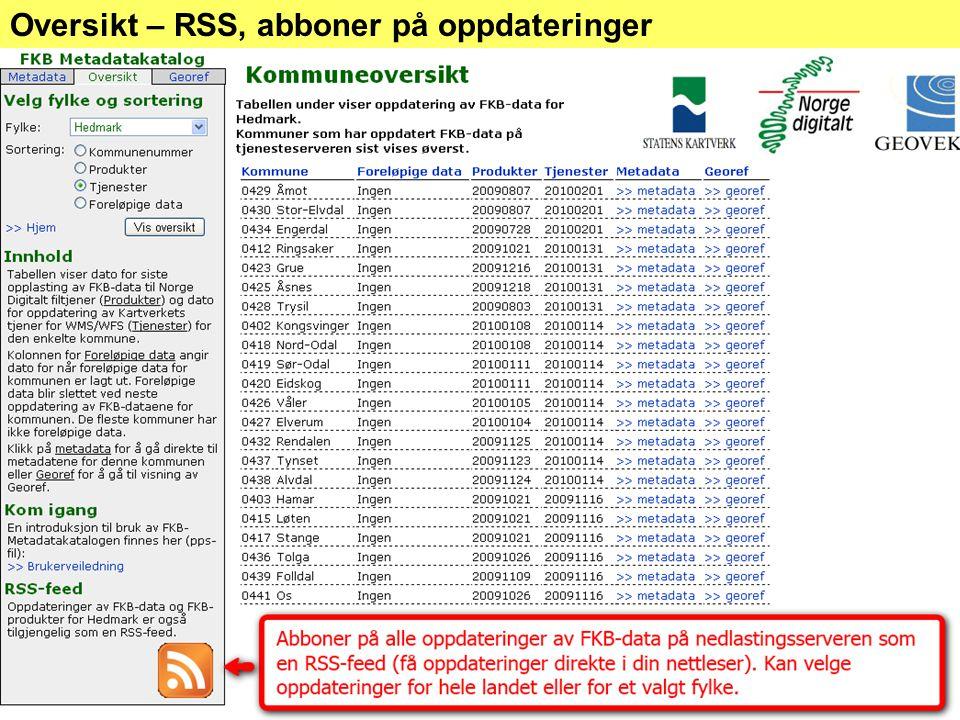 Oversikt – RSS, abboner på oppdateringer