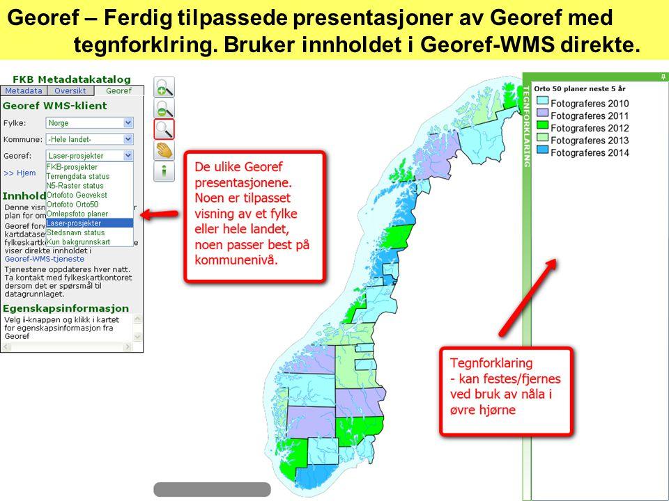 Georef – Ferdig tilpassede presentasjoner av Georef med tegnforklring.