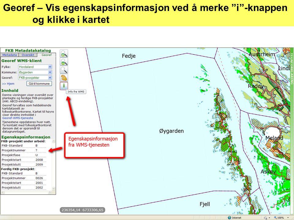 Georef – Vis egenskapsinformasjon ved å merke i -knappen og klikke i kartet