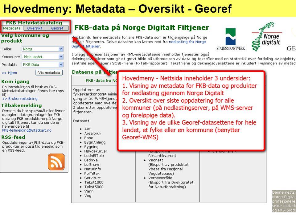 Hovedmeny: Metadata – Oversikt - Georef
