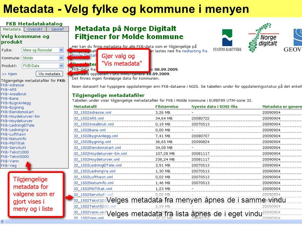 Metadata - Velg fylke og kommune i menyen Velges metadata fra menyen åpnes de i samme vindu Velges metadata fra lista åpnes de i eget vindu
