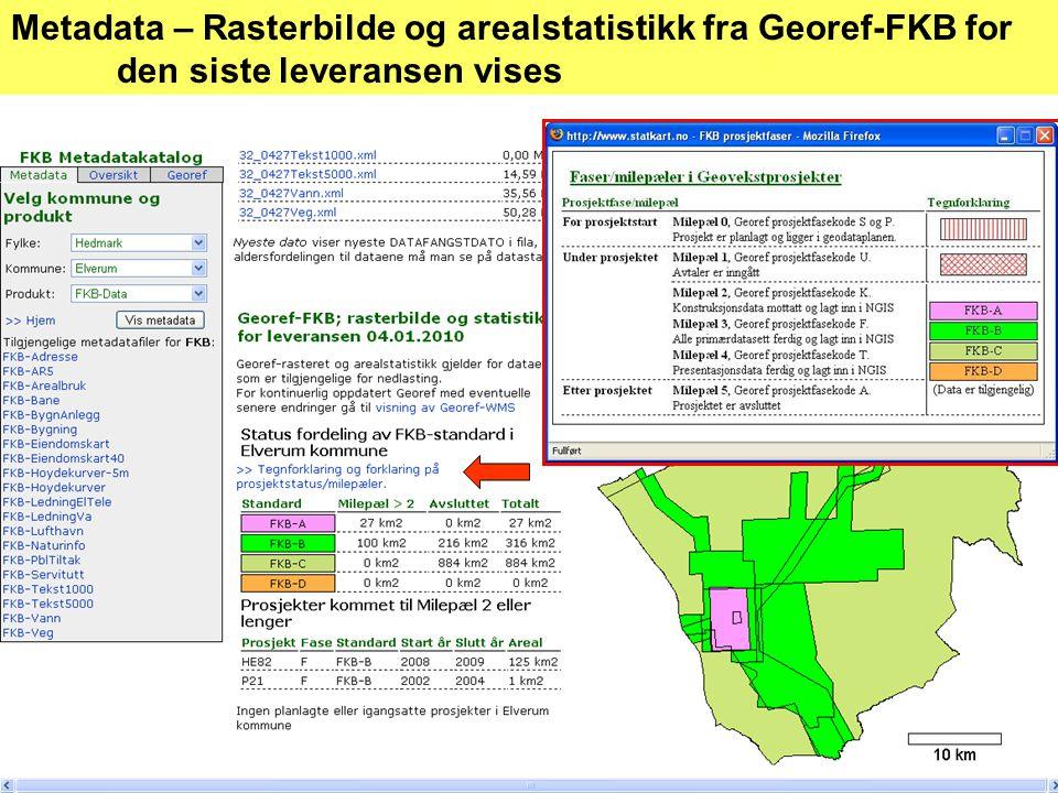 Metadata – Rasterbilde og arealstatistikk fra Georef-FKB for den siste leveransen vises