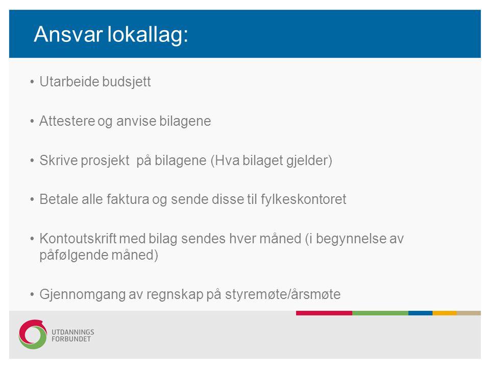 Ansvar lokallag: Utarbeide budsjett Attestere og anvise bilagene Skrive prosjekt på bilagene (Hva bilaget gjelder) Betale alle faktura og sende disse
