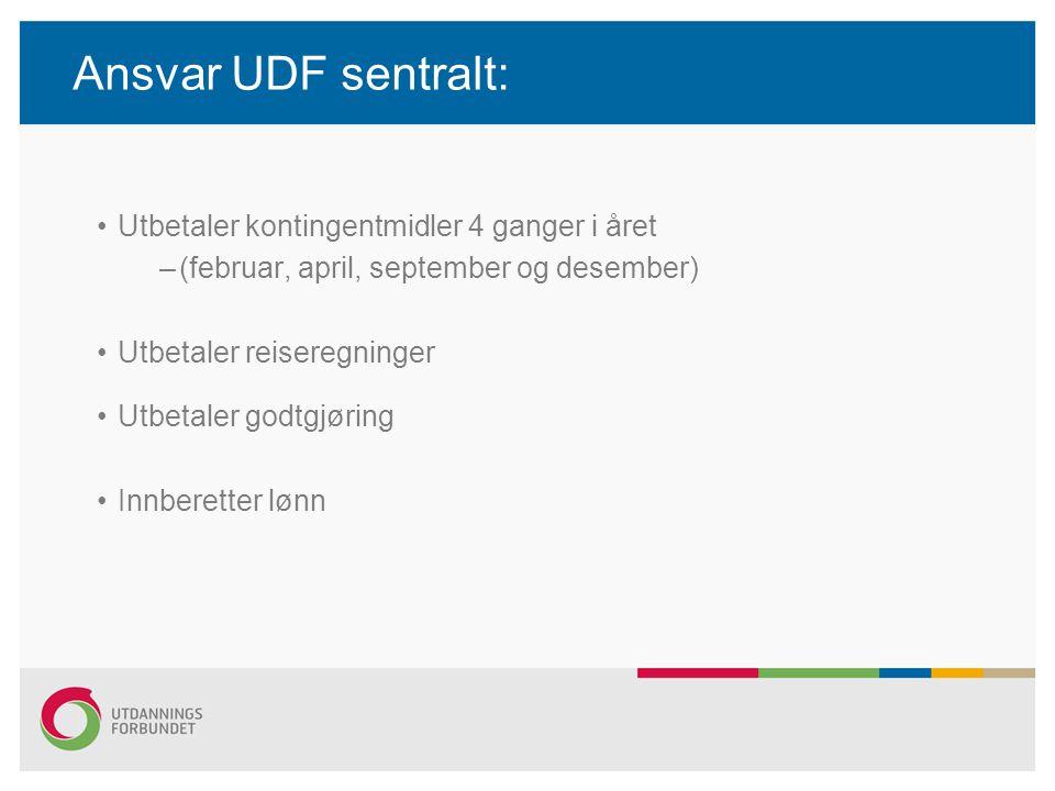 Ansvar UDF sentralt: Utbetaler kontingentmidler 4 ganger i året –(februar, april, september og desember) Utbetaler reiseregninger Utbetaler godtgjørin