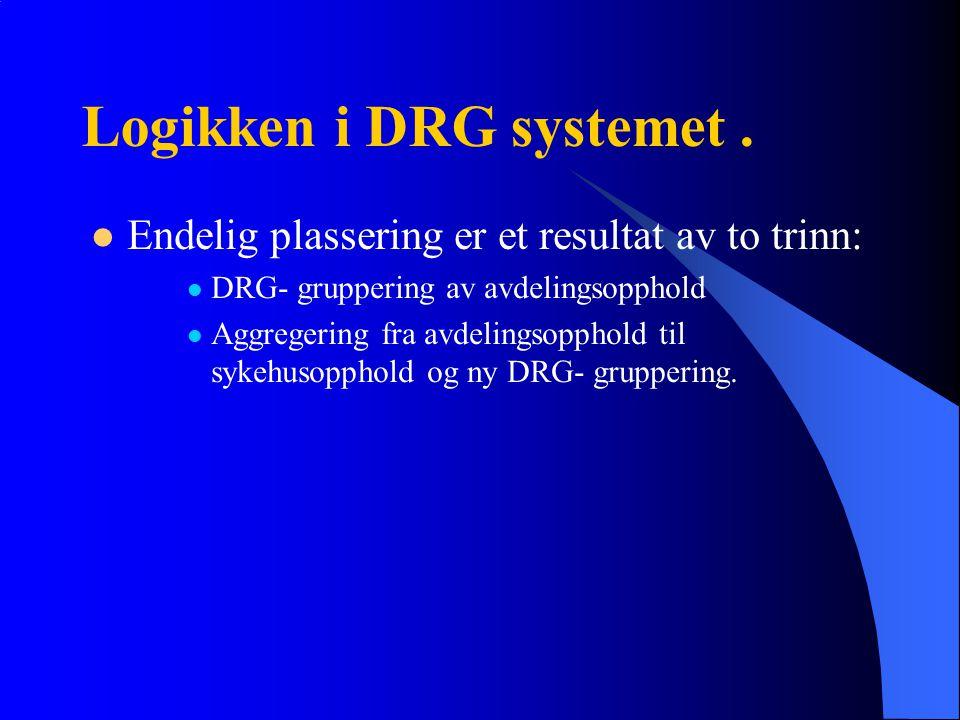Logikken i DRG systemet. Endelig plassering er et resultat av to trinn: DRG- gruppering av avdelingsopphold Aggregering fra avdelingsopphold til sykeh