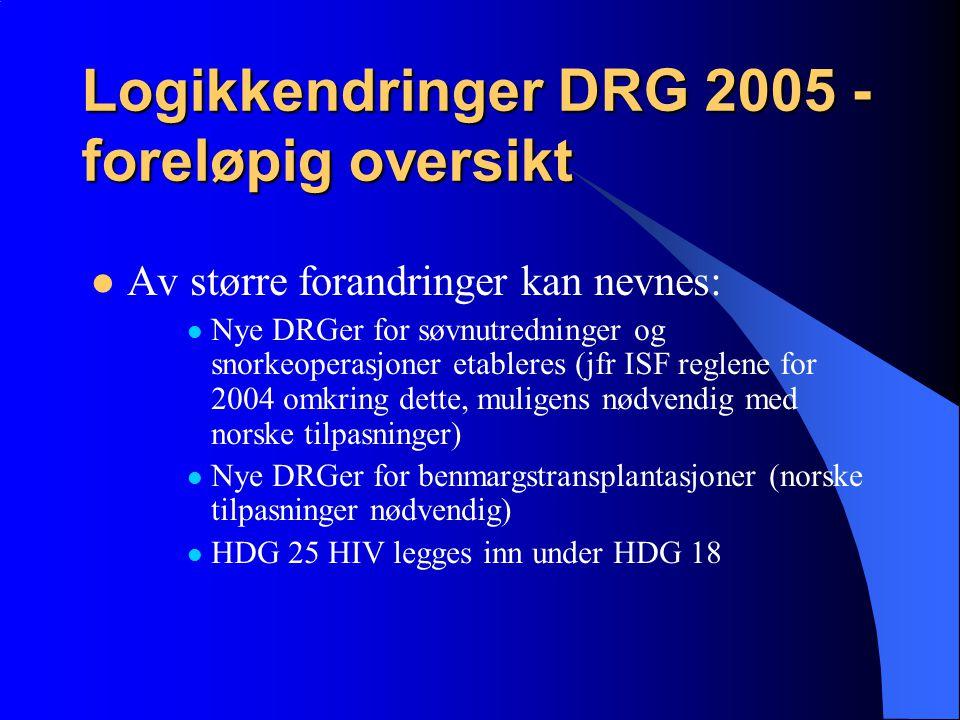 Logikkendringer DRG 2005 - foreløpig oversikt Av større forandringer kan nevnes: Nye DRGer for søvnutredninger og snorkeoperasjoner etableres (jfr ISF