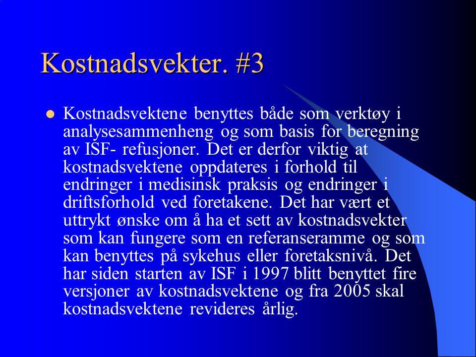 Kostnadsvekter. #3 Kostnadsvektene benyttes både som verktøy i analysesammenheng og som basis for beregning av ISF- refusjoner. Det er derfor viktig a