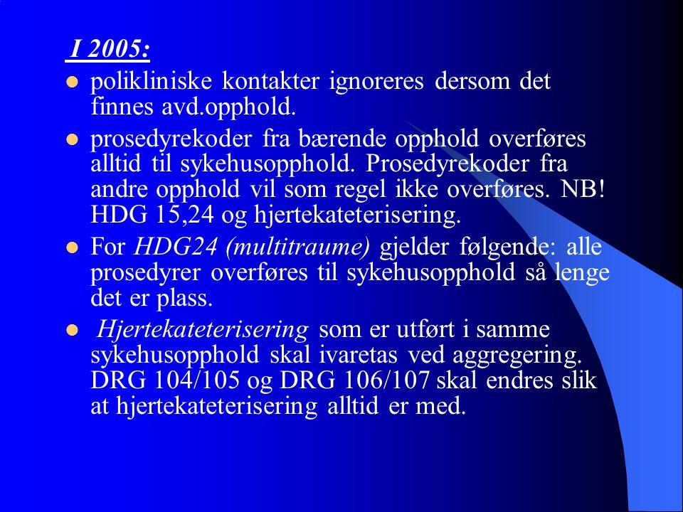 I 2005: polikliniske kontakter ignoreres dersom det finnes avd.opphold. prosedyrekoder fra bærende opphold overføres alltid til sykehusopphold. Prosed