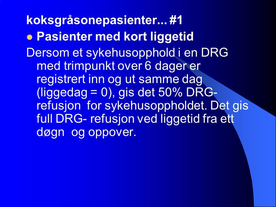 koksgråsonepasienter... #1 Pasienter med kort liggetid Dersom et sykehusopphold i en DRG med trimpunkt over 6 dager er registrert inn og ut samme dag