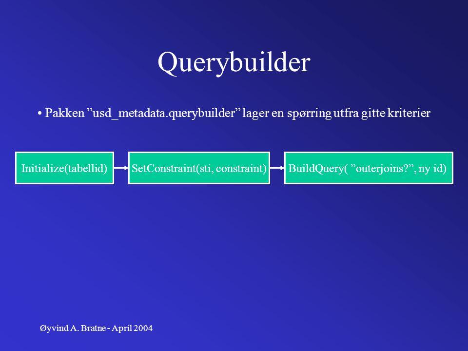 "Øyvind A. Bratne - April 2004 Querybuilder Pakken ""usd_metadata.querybuilder"" lager en spørring utfra gitte kriterier Initialize(tabellid)SetConstrain"