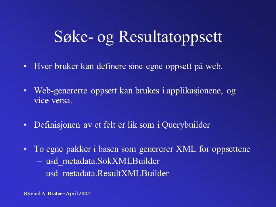Øyvind A. Bratne - April 2004 Søke- og Resultatoppsett Hver bruker kan definere sine egne oppsett på web. Web-genererte oppsett kan brukes i applikasj