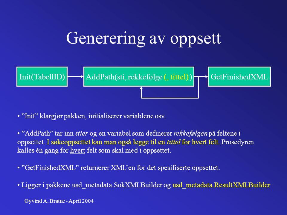 """Øyvind A. Bratne - April 2004 Generering av oppsett Init(TabellID)AddPath(sti, rekkefølge (, tittel) )GetFinishedXML """"Init"""" klargjør pakken, initialis"""