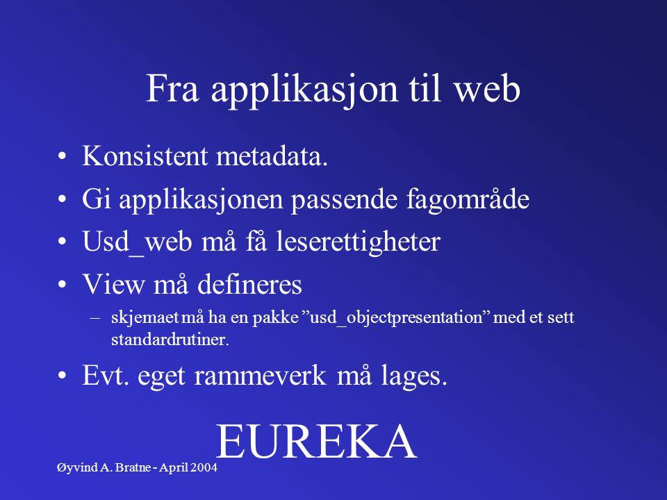 Øyvind A. Bratne - April 2004 Fra applikasjon til web Konsistent metadata. Gi applikasjonen passende fagområde Usd_web må få leserettigheter View må d
