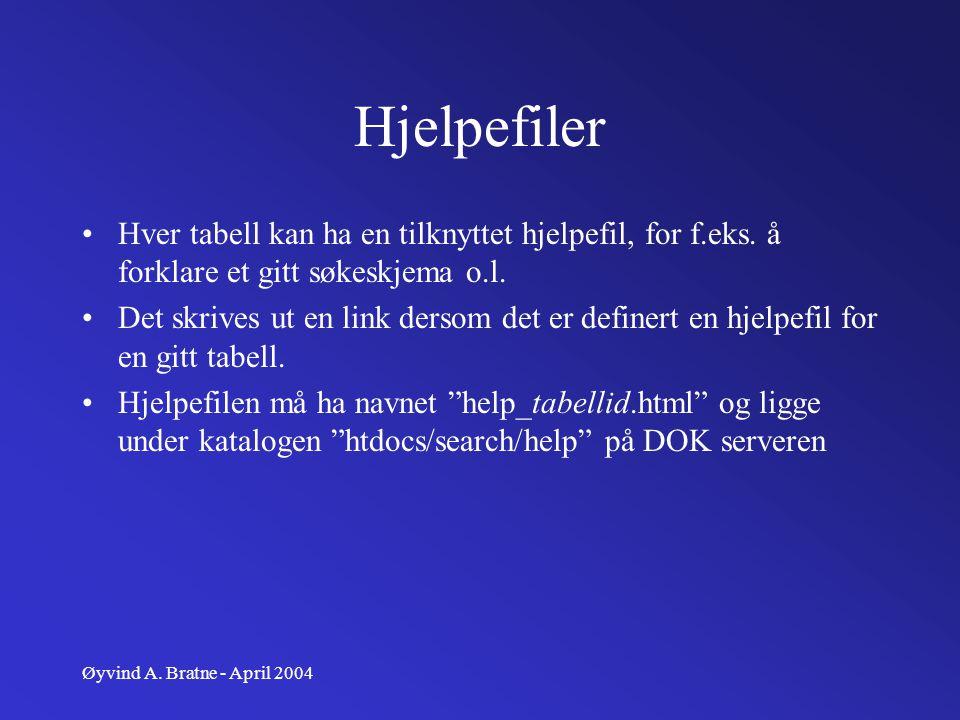 Øyvind A. Bratne - April 2004 Hjelpefiler Hver tabell kan ha en tilknyttet hjelpefil, for f.eks. å forklare et gitt søkeskjema o.l. Det skrives ut en