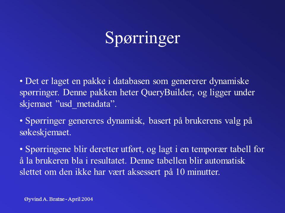 Øyvind A. Bratne - April 2004 Spørringer Det er laget en pakke i databasen som genererer dynamiske spørringer. Denne pakken heter QueryBuilder, og lig