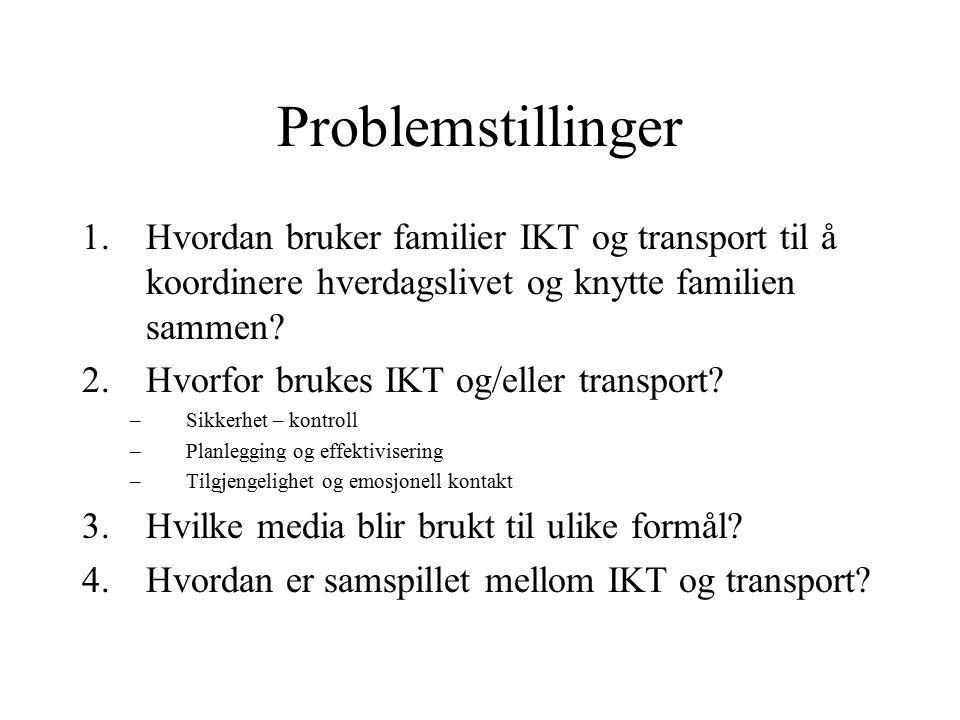 Problemstillinger 1.Hvordan bruker familier IKT og transport til å koordinere hverdagslivet og knytte familien sammen? 2.Hvorfor brukes IKT og/eller t
