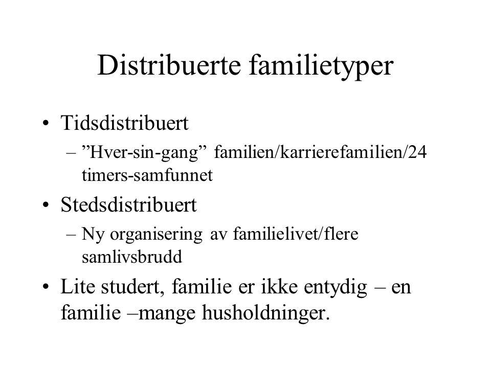 Distribuerte familietyper Tidsdistribuert – Hver-sin-gang familien/karrierefamilien/24 timers-samfunnet Stedsdistribuert –Ny organisering av familielivet/flere samlivsbrudd Lite studert, familie er ikke entydig – en familie –mange husholdninger.