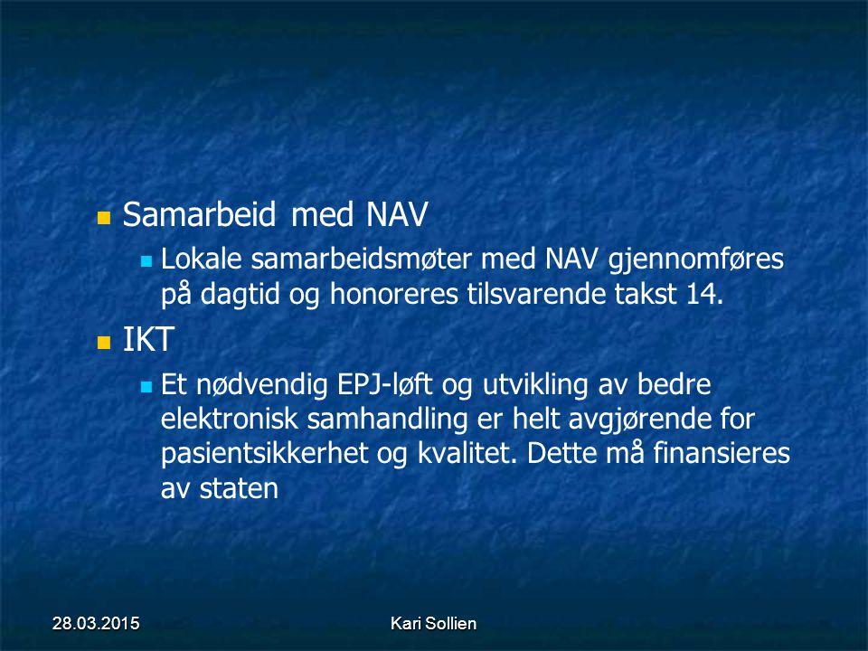 Samarbeid med NAV Lokale samarbeidsmøter med NAV gjennomføres på dagtid og honoreres tilsvarende takst 14. IKT Et nødvendig EPJ-løft og utvikling av b