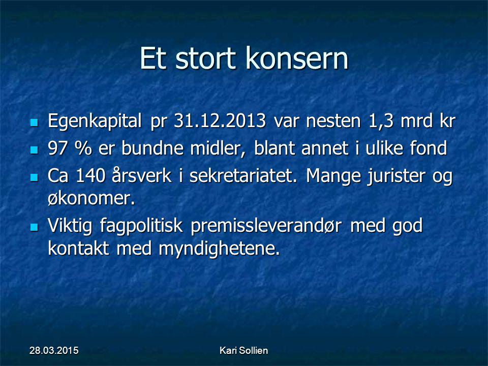Kari Sollien Et stort konsern Egenkapital pr 31.12.2013 var nesten 1,3 mrd kr Egenkapital pr 31.12.2013 var nesten 1,3 mrd kr 97 % er bundne midler, b