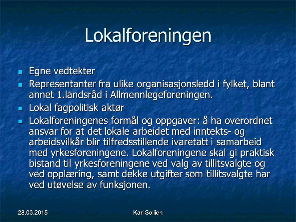 Kari Sollien Lokalforeningen Egne vedtekter Egne vedtekter Representanter fra ulike organisasjonsledd i fylket, blant annet 1.landsråd i Allmennlegefo