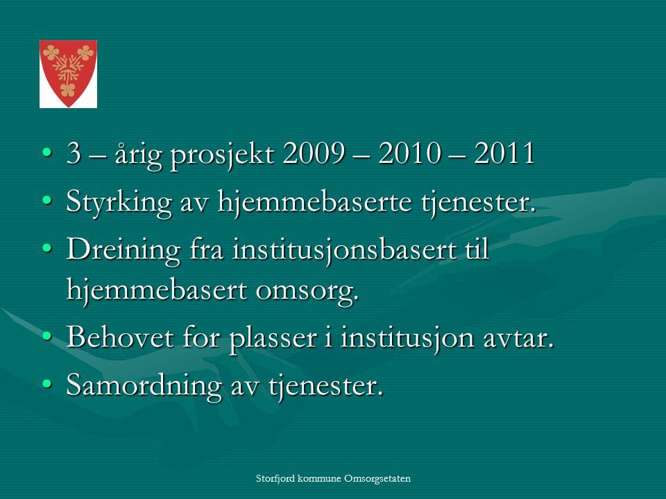 Storfjord kommune Omsorgsetaten 3 – årig prosjekt 2009 – 2010 – 20113 – årig prosjekt 2009 – 2010 – 2011 Styrking av hjemmebaserte tjenester.Styrking av hjemmebaserte tjenester.
