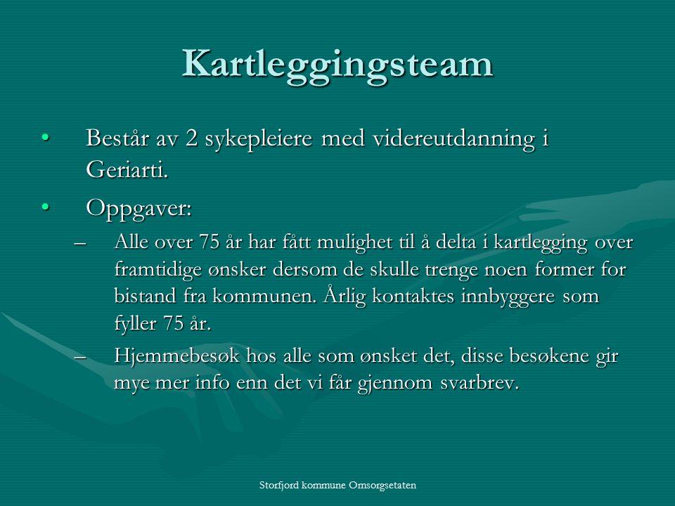 Storfjord kommune Omsorgsetaten Kartleggingsteam Består av 2 sykepleiere med videreutdanning i Geriarti.Består av 2 sykepleiere med videreutdanning i Geriarti.