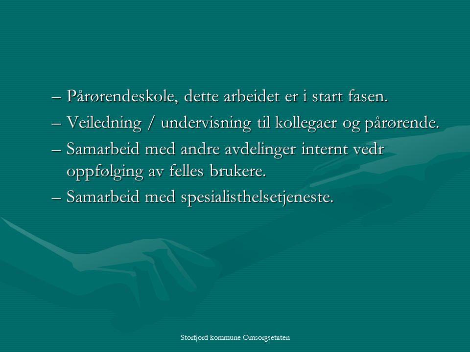 Storfjord kommune Omsorgsetaten –Pårørendeskole, dette arbeidet er i start fasen.