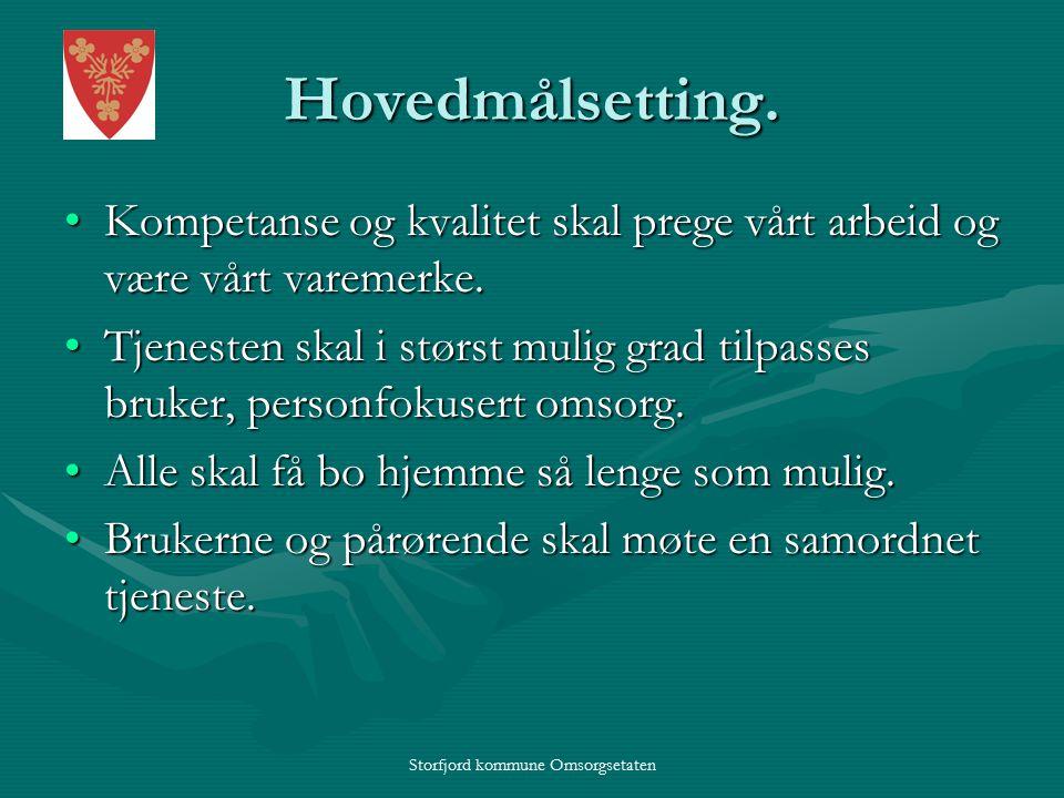 Storfjord kommune Omsorgsetaten Hovedmålsetting.
