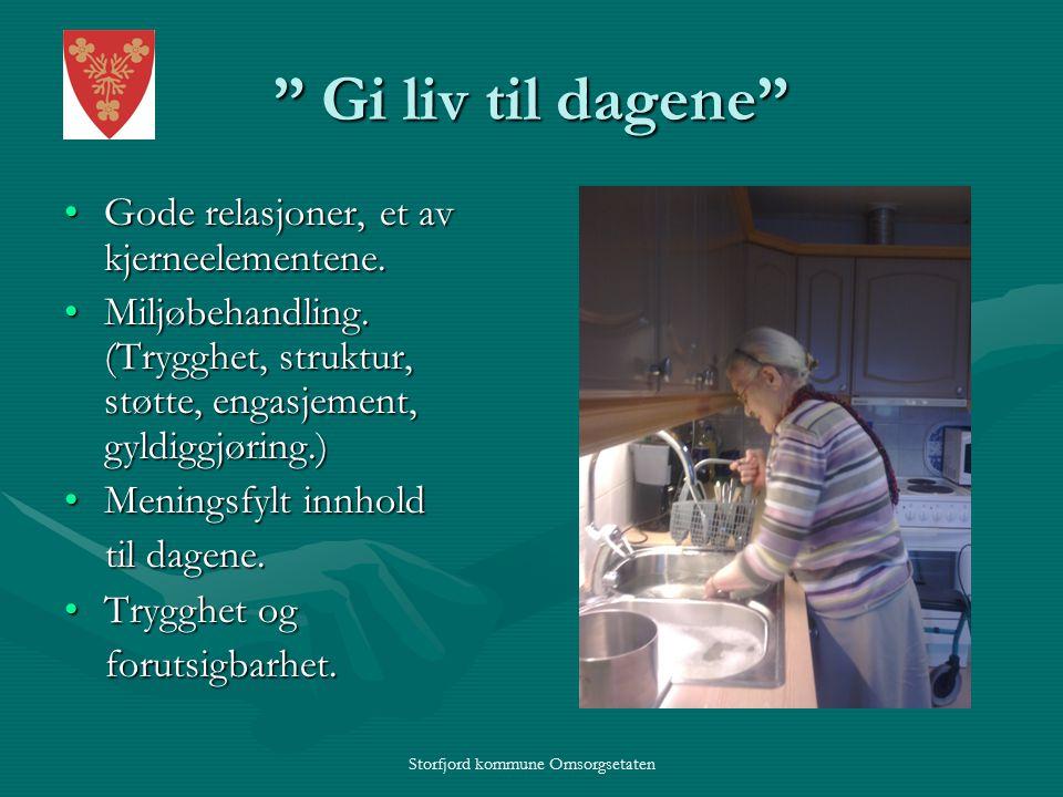 Storfjord kommune Omsorgsetaten Gi liv til dagene Gode relasjoner, et av kjerneelementene.Gode relasjoner, et av kjerneelementene.