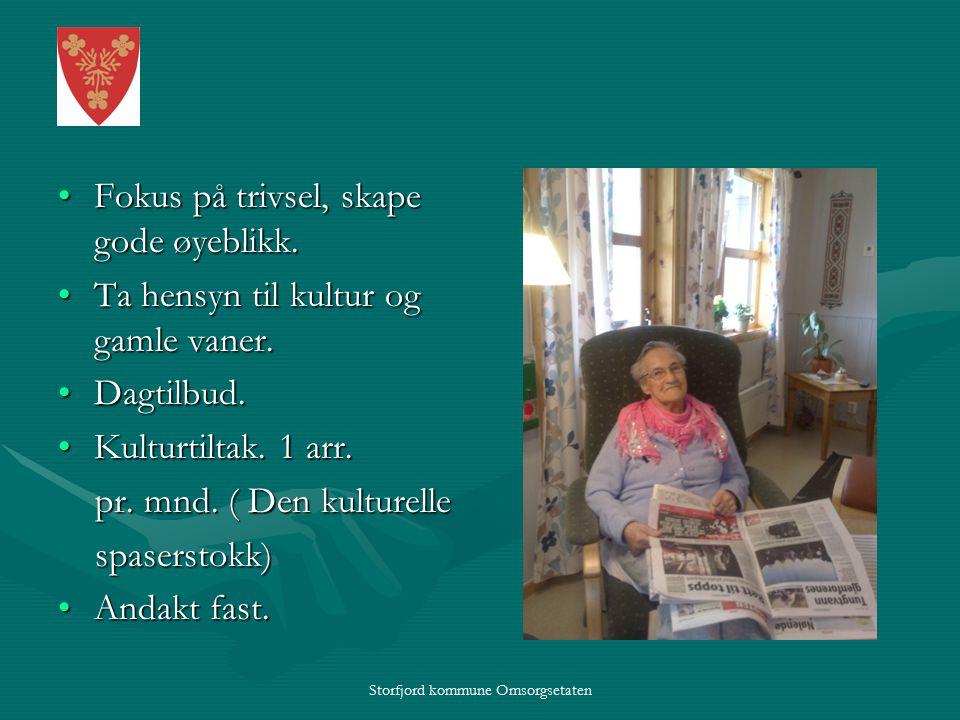 Storfjord kommune Omsorgsetaten Fokus på trivsel, skape gode øyeblikk.Fokus på trivsel, skape gode øyeblikk.