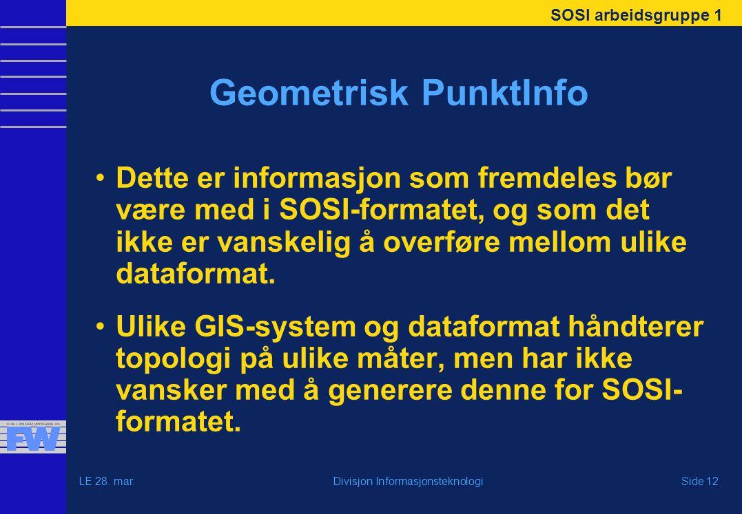 SOSI arbeidsgruppe 1 LE 28. mar.Side 12Divisjon Informasjonsteknologi Geometrisk PunktInfo Dette er informasjon som fremdeles bør være med i SOSI-form