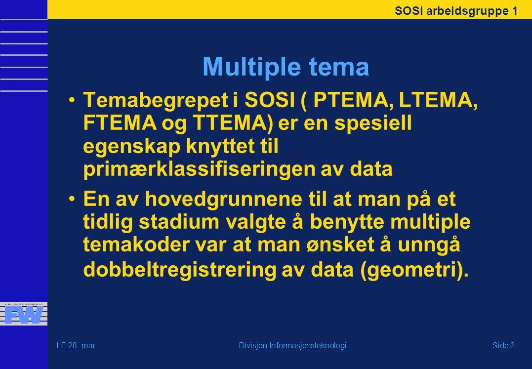 SOSI arbeidsgruppe 1 LE 28. mar.Side 2Divisjon Informasjonsteknologi Multiple tema Temabegrepet i SOSI ( PTEMA, LTEMA, FTEMA og TTEMA) er en spesiell