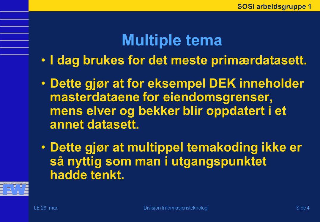 SOSI arbeidsgruppe 1 LE 28. mar.Side 4Divisjon Informasjonsteknologi Multiple tema I dag brukes for det meste primærdatasett. Dette gjør at for eksemp
