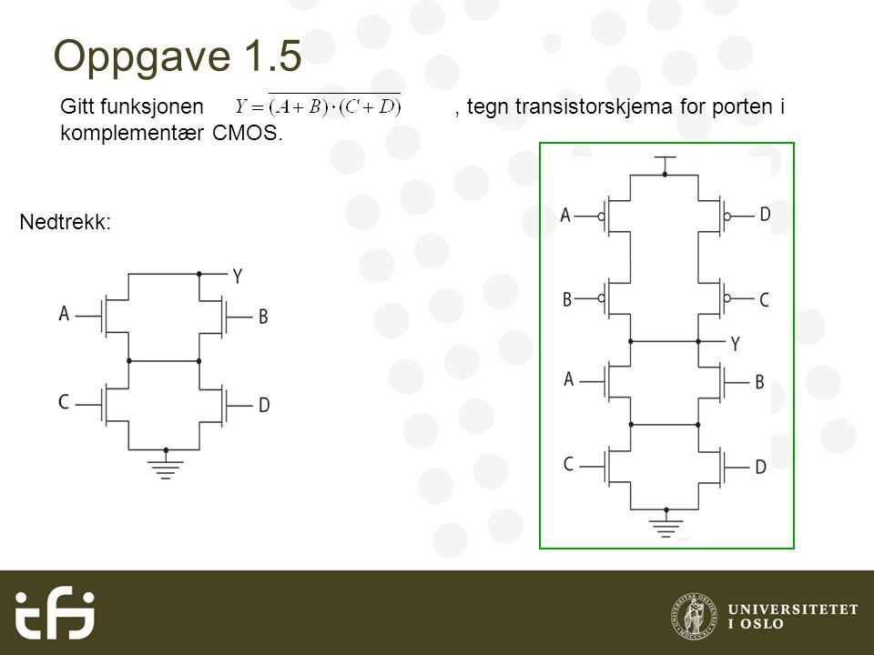 Oppgave 1.5 Gitt funksjonen, tegn transistorskjema for porten i komplementær CMOS. Nedtrekk: