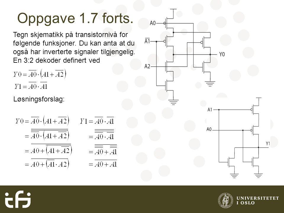 Tegn skjematikk på transistornivå for følgende funksjoner.